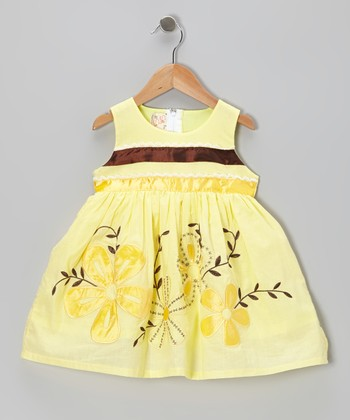 Yellow & Brown Stripe A-Line Dress - Toddler & Girls