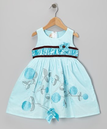 Aqua Flower A-Line Dress - Toddler & Girls