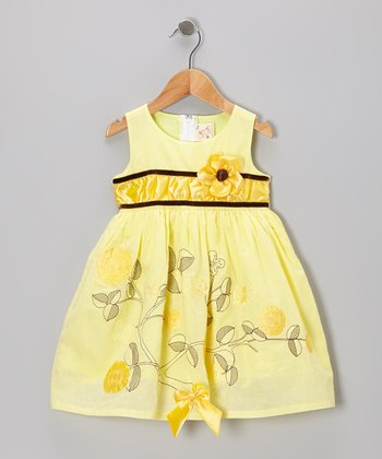 Yellow Flower A-Line Dress - Toddler & Girls