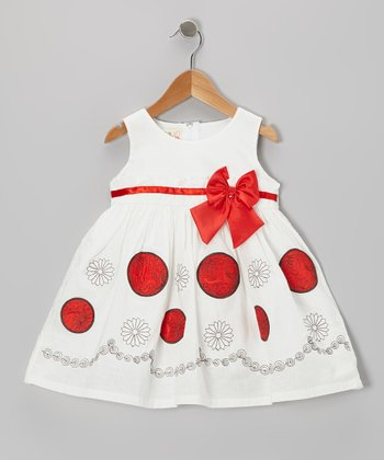White & Red Bow A-Line Dress - Toddler & Girls