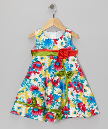 Red & Blue Rosette Dress - Toddler & Girls