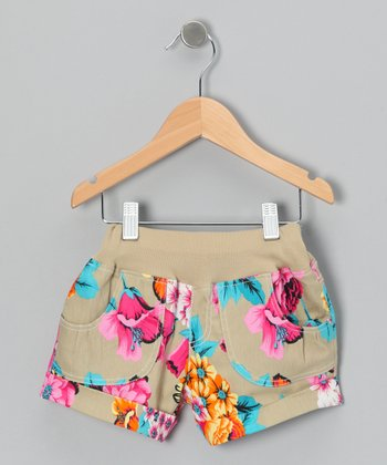 Khaki Vintage Floral Shorts - Infant, Toddler & Girls