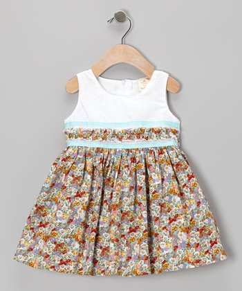 Aqua Floral Eyelet Dress - Infant, Toddler & Girls