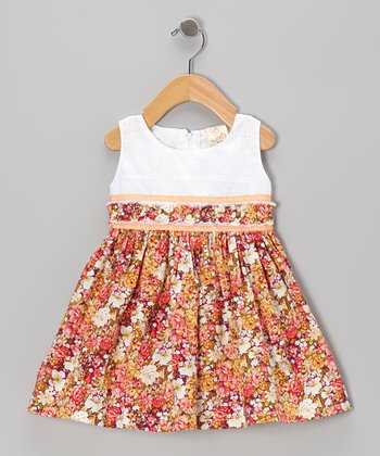 Coral Floral Eyelet Dress - Infant, Toddler & Girls