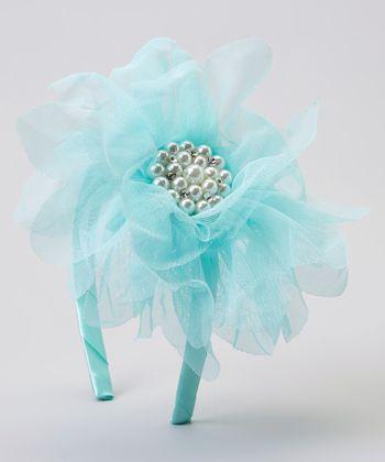 Turquoise Pearl Tulle Flower Headband