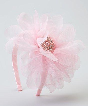 Pink Pearl Tulle Flower Headband