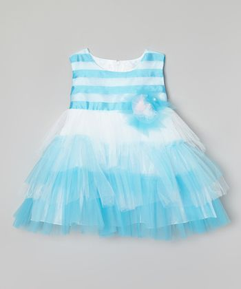 Turquoise & White Ruffle Tiered Dress - Infant