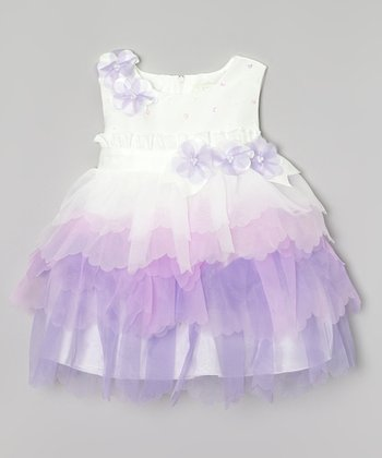 Lilac & Purple Flower Ruffle Tiered Dress - Infant