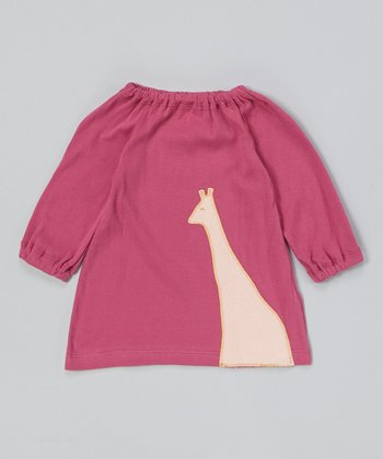 Violet & Pink Giraffe Organic Peasant Dress - Infant