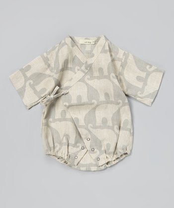 Blue Elephant Linen Wrap Bodysuit - Infant