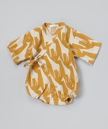 Brown Giraffe Linen Wrap Bodysuit - Infant