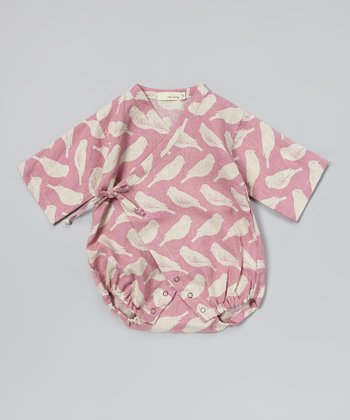 Pink Bird Linen Wrap Bodysuit - Infant