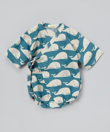 Blue Whale Linen Wrap Bodysuit - Infant