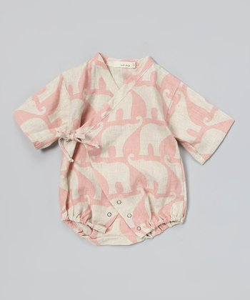 Rose Elephant Linen Wrap Bodysuit - Infant