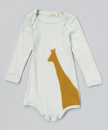 Blue & Brown Giraffe Organic Bodysuit - Infant