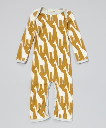 Brown Giraffe Organic Playsuit - Infant