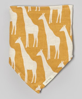 Brown Giraffe Linen Kerchief Bib