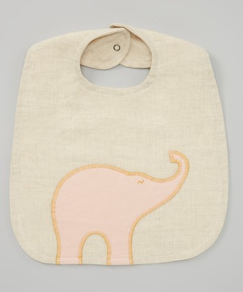 Natural Elephant Linen Bib
