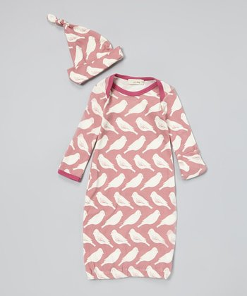 Pink Bird Organic Gown & Single-Knot Beanie - Infant