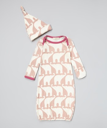 Rose Elephant Organic Gown & Single-Knot Beanie - Infant
