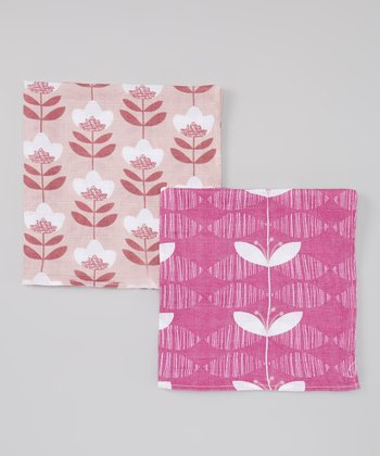 Pink Orchid Organic Burp Cloth Set