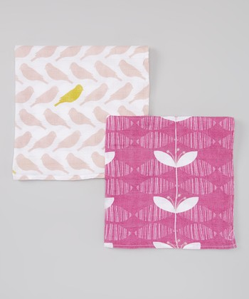 Pink Bird Organic Burp Cloth Set