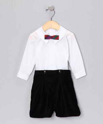 Black Velvet Shorts Set - Infant