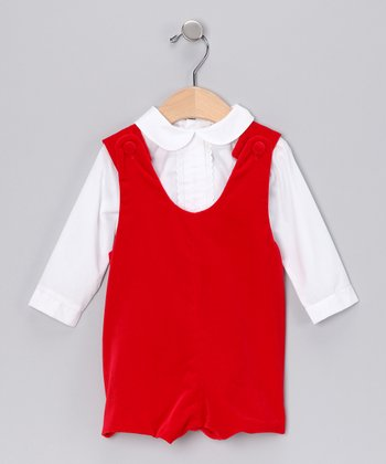 White Button-Up & Red Velvet Romper - Infant