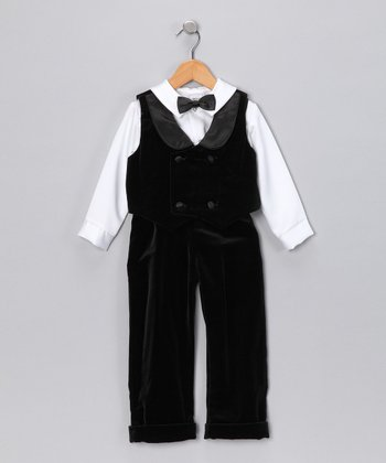 Black & White Velvet Vest Set - Infant & Toddler