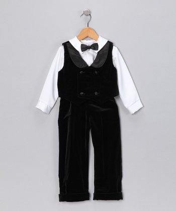Black & White Velvet Vest Set - Infant & Toddler