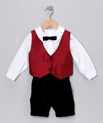 Burgundy Taffeta Reversible Vest Set - Infant & Toddler