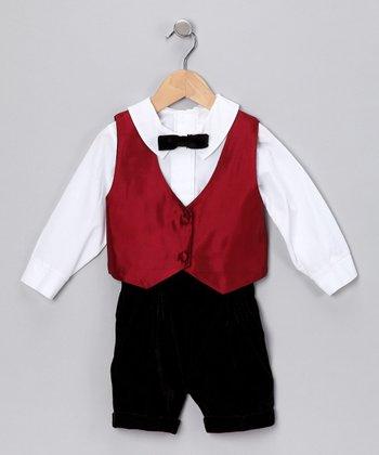 Burgundy Taffeta Reversible Vest Set - Infant & Toddler