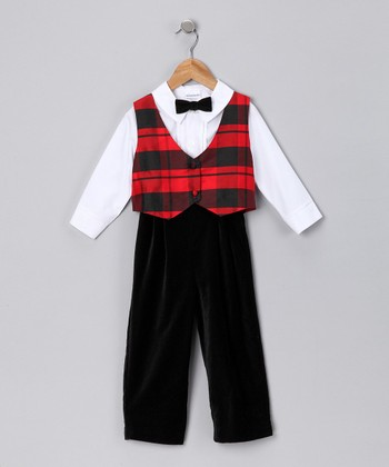 Red & Black Plaid Pants Set - Infant