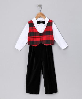 Red & Black Plaid Pants Set - Infant