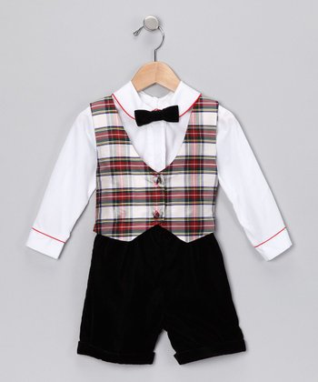 Green & Red Plaid Reversible Vest Set - Toddler