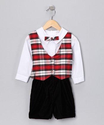 Red & Black Plaid Reversible Vest Set - Infant & Toddler