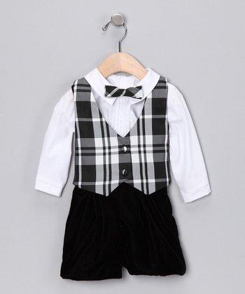 Black & White Taffeta Plaid Reversible Vest Set - Infant