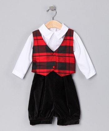 Red & Black Plaid Reversible Vest Set - Infant & Toddler