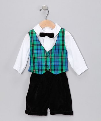 Blue & Green Plaid Reversible Vest Set - Infant & Toddler
