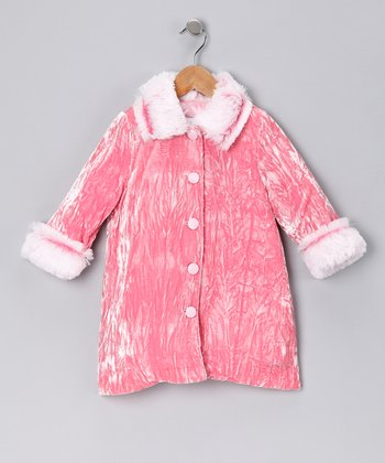 Pink Crushed Velvet Coat - Toddler & Girls