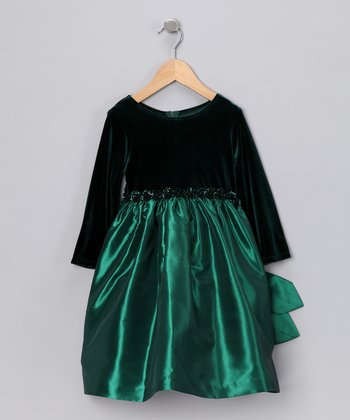 Green Taffeta Dress - Toddler & Girls