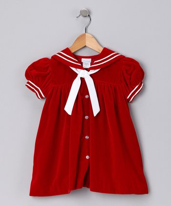 Red Velvet Sailor Dress - Toddler
