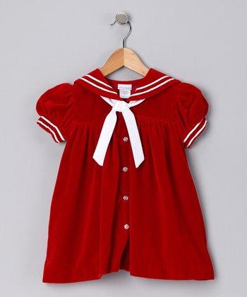 Red Velvet Sailor Dress - Toddler