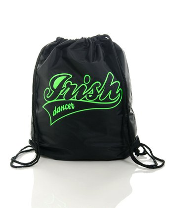 Black 'Irish Dancer' Drawstring Bag
