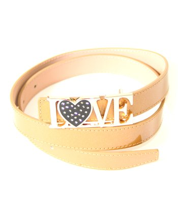 Beige & Gold 'Love' Belt