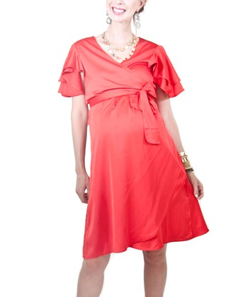 Red Jackie Silk Maternity Wrap Dress