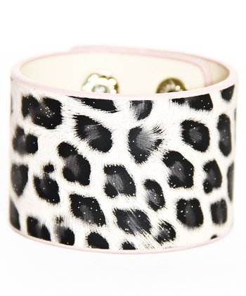 White & Black Glitter Winter Cheetah Cuff