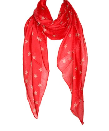 Coral & Gold Star Scarf