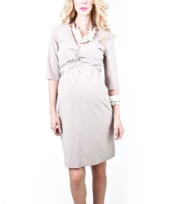 Taupe Adina Maternity Dress