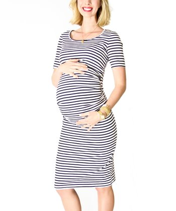 White & Black Stripe Maternity Dress